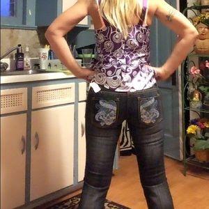 Ed Hardy 5 pocket embellish jeans, NWT!!!